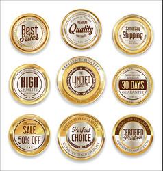 sale retro vintage golden badges and labels 06 vector image