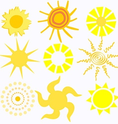 Set of Cartoon Suns vector image vector image