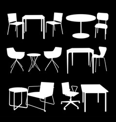 set of furniture tables and chairs vector image