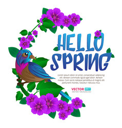 Spring season frame witn exotic bird sitting on a vector