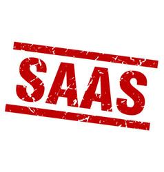 square grunge red saas stamp vector image