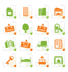 stylized real estate icons vector image vector image