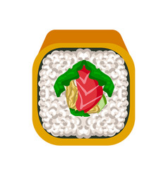 Sushi roll with with salmon traditional japanese vector