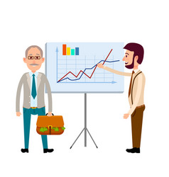 two men standing near poster with charts flat icon vector image
