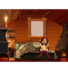 woman sits thoughtfully in the room chalet style vector image vector image