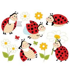 Ladybugs Set01 vector image