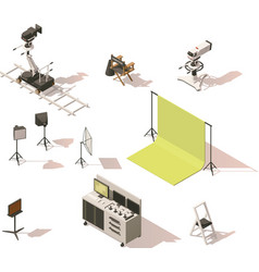 isometric low poly video equipment set vector image