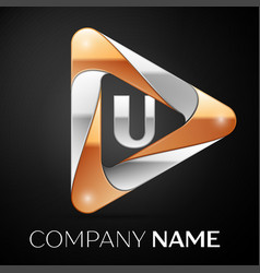 letter u logo symbol in the colorful triangle on vector image