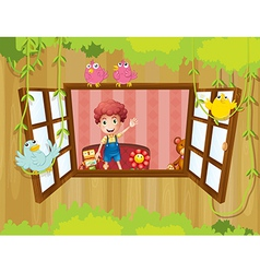 A young boy inside the house waving near the vector image