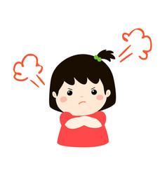 Cute cartoon angry girl character vector