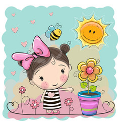 Cartoon girl on the meadow with flowers vector