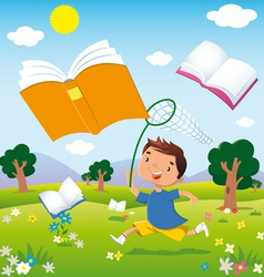 Child on the hunt for books vector
