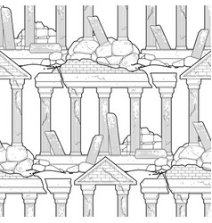 Graphic ruined ancient architecture vector