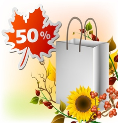 Autumn shopping bag vector