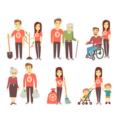 volunteer helping to disabled people vector image