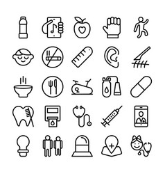 Medical health and hospital line icons 7 vector