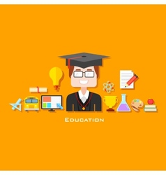 Graduate with Education icon vector image