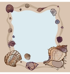 Summer frame of seashells vector