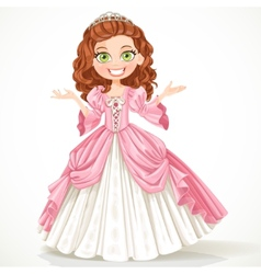 Cute young princess with curly brown hair in a vector