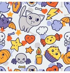 Seamless halloween kawaii pattern with cute vector image