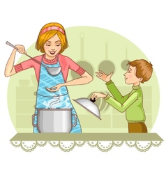 Mother and son tests food in the kitchen vector