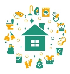 Household cleaning icons set vector