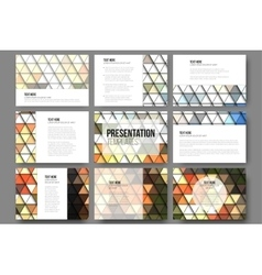 Set of 9 templates for presentation slides brown vector