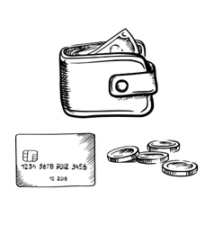 Credit card wallet with money and coins sketch vector