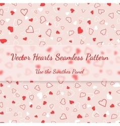 Red and white hearts seamless pattern valentines vector