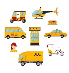 Different types of taxi transport cars vector