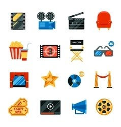Flat cinema decorative icons set vector