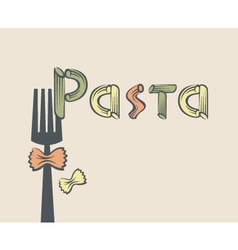 Fork with pasta vector