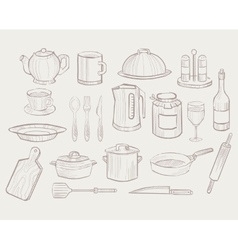 Kitchen utensils hand drawn style vector
