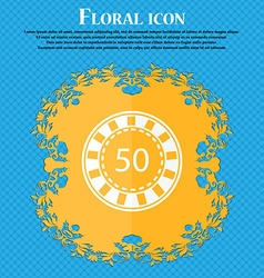 Gambling chips icon floral flat design on a blue vector
