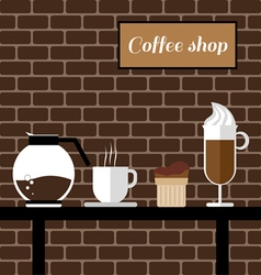 A coffee mill a glass a cake and a jar on a table vector image