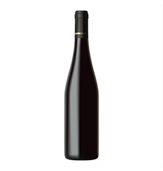 Black wine bottle isolated on white background vector image