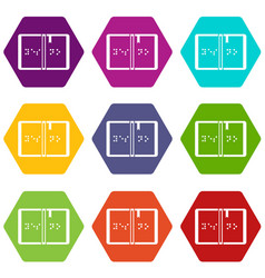 braille icon set color hexahedron vector image