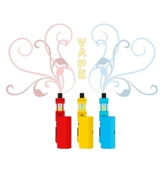 Bright vape devices set vaping liquid smoke vector