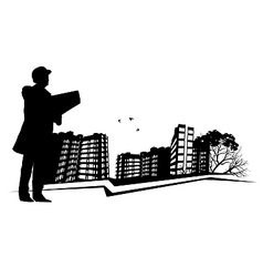 Broker inspects real estate vector