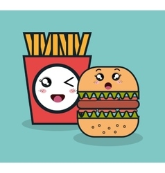 Cartoon burger with fries french facial expression vector