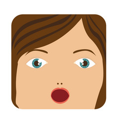 Cartoon human female face surprised vector