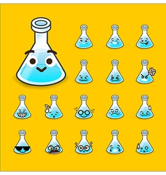 Collection of difference emoticon flask icon test vector image