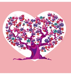 Concept pink love tree vector