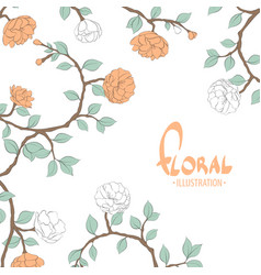 Delicate flowers on a white background vector