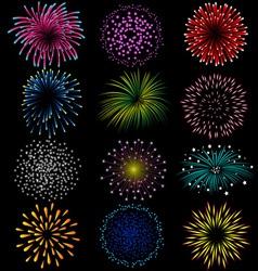 Fireworks set on black background vector image vector image