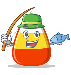 Fishing candy corn character cartoon vector