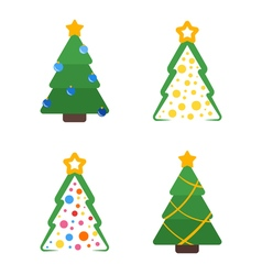 Flat colored christmas tree with star and garland vector
