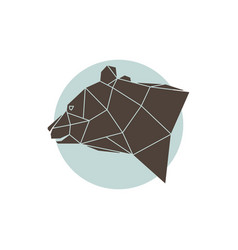 geometric brown bear vector image vector image