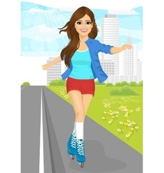 Girl skating on rollerblades on sidewalk vector