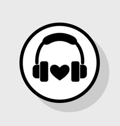 headphones with heart flat black icon in vector image vector image